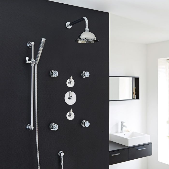 "Traditional 3-Outlet Shower System with 8"" Rose Head, Body Jets & Diverter Valve"