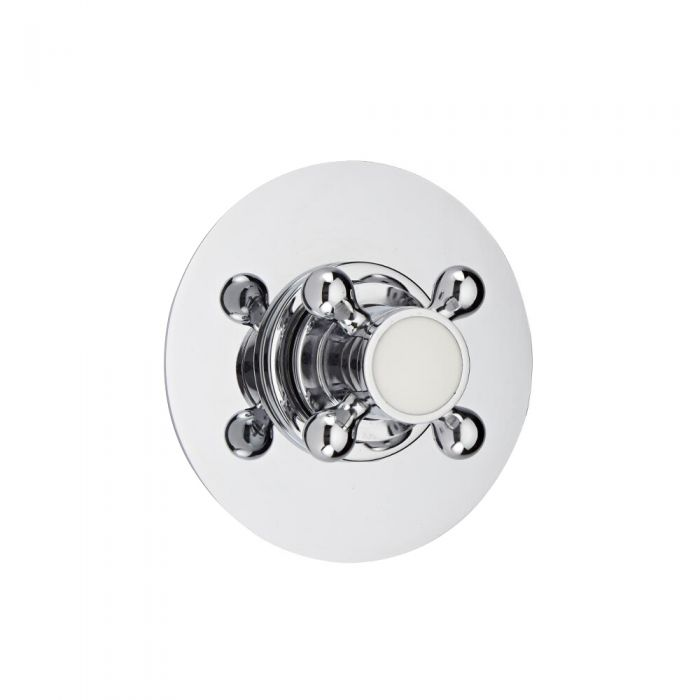 Shut-Off Shower Valve with Round Plate and Traditional Crosshead Handle
