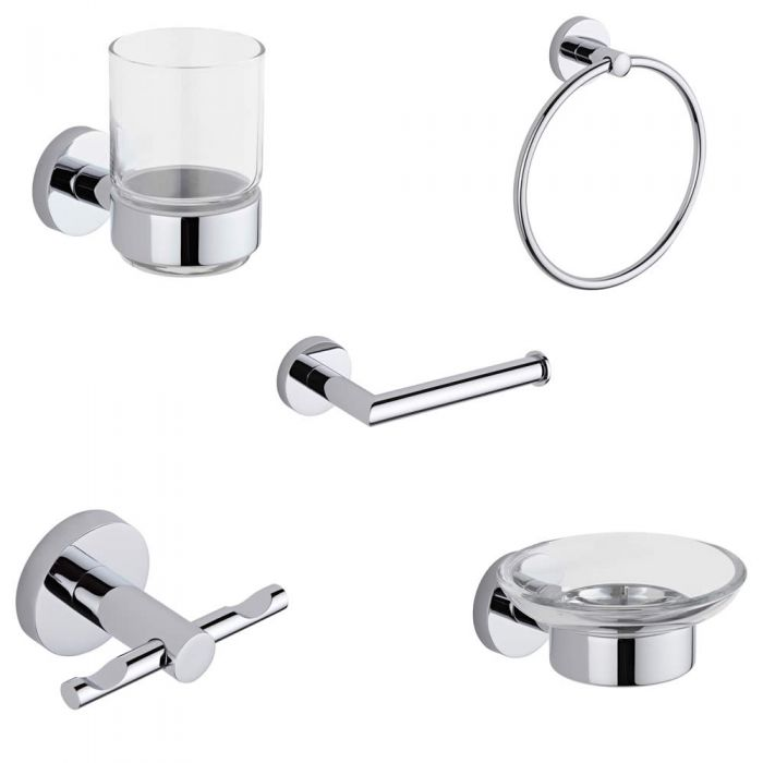 Prise Chrome 5-Piece Bathroom Accessory Set