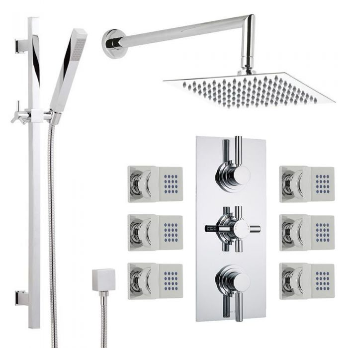 Thermostatic Shower System with Extended Arm, Slide Rail Kit & 6 ...