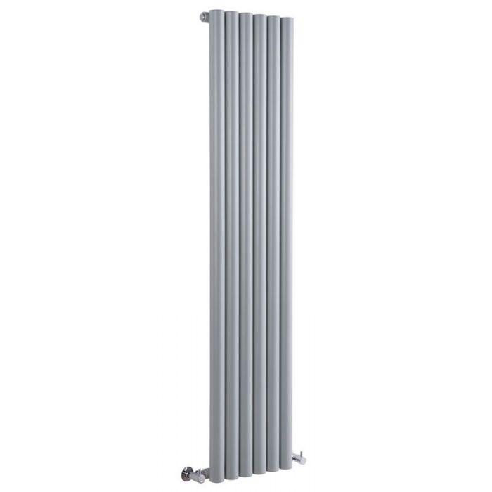 "Savy - Silver Vertical Single-Panel Designer Radiator - 70"" x 14"""