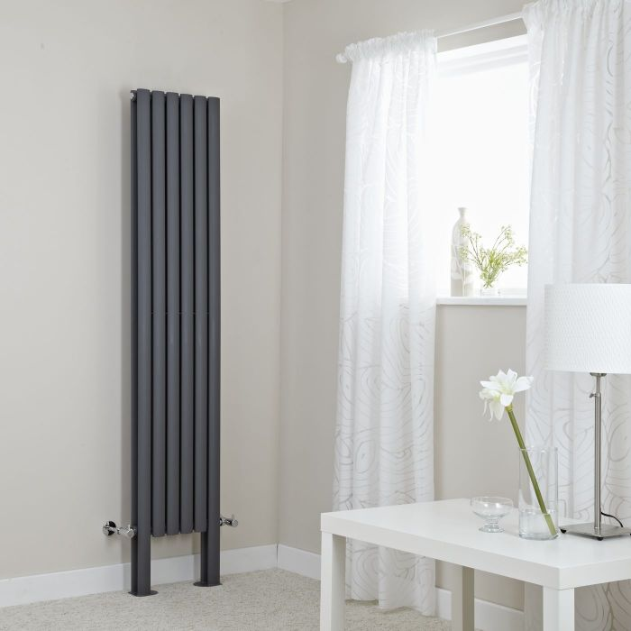 "Revive Plus - Anthracite Vertical Double-Panel Designer Radiator - 70.75"" x 14"""