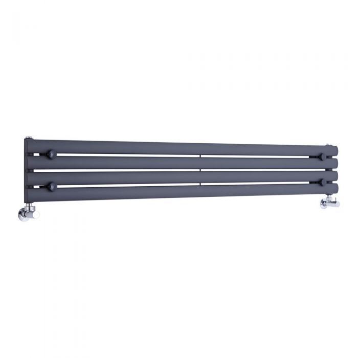 "Revive - Anthracite Horizontal Single-Panel Designer Radiator - 9.25"" x 63"""