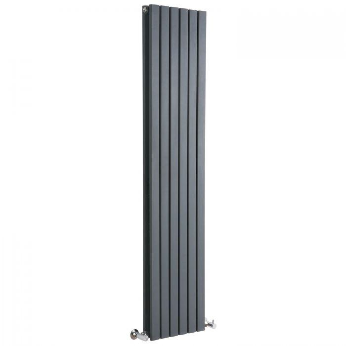 "Sloane - Anthracite Vertical Double Flat-Panel Designer Radiator - 63"" x 14"""