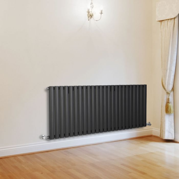 "Revive - Anthracite Horizontal Single-Panel Designer Radiator - 25"" x 55.5"""