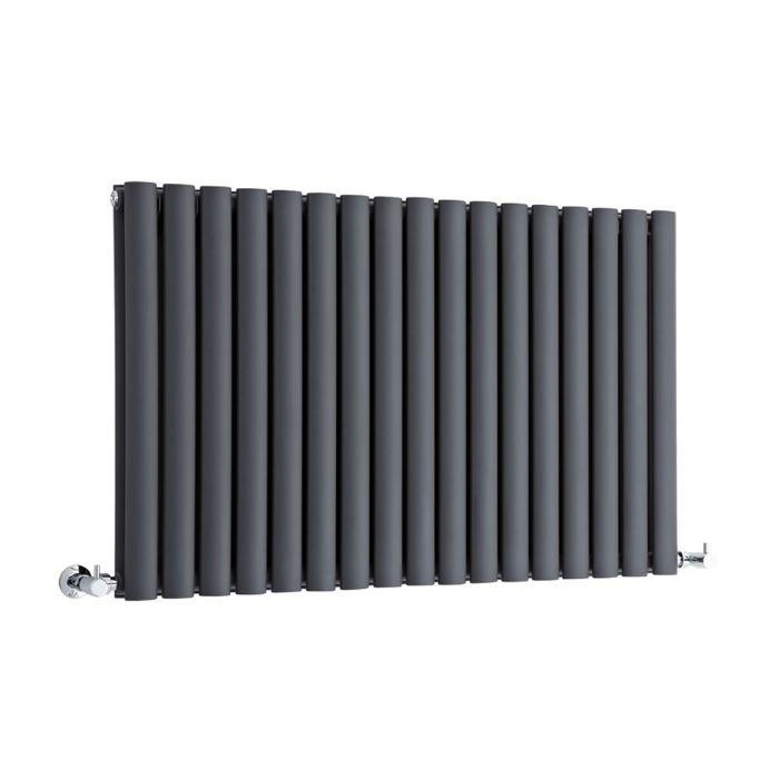 """Revive - Anthracite Horizontal Double-Panel Designer Radiator - 25"""" x 39.25"""""""