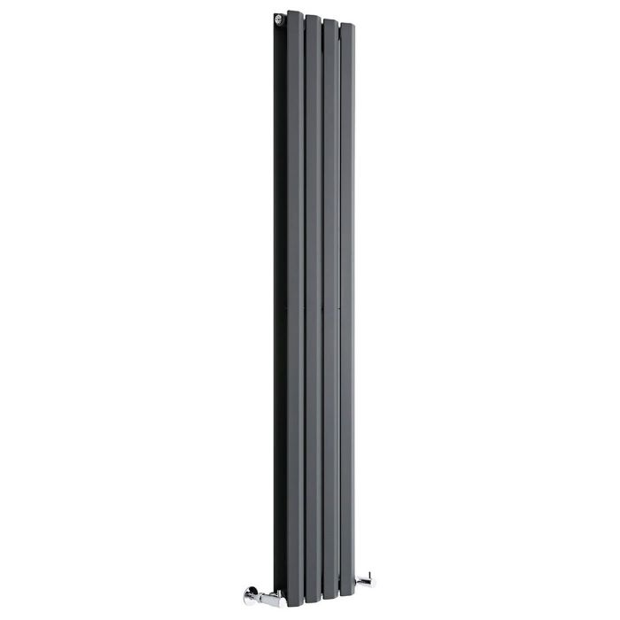 "Edifice - Anthracite Vertical Double-Panel Designer Radiator - 63"" x 11"""
