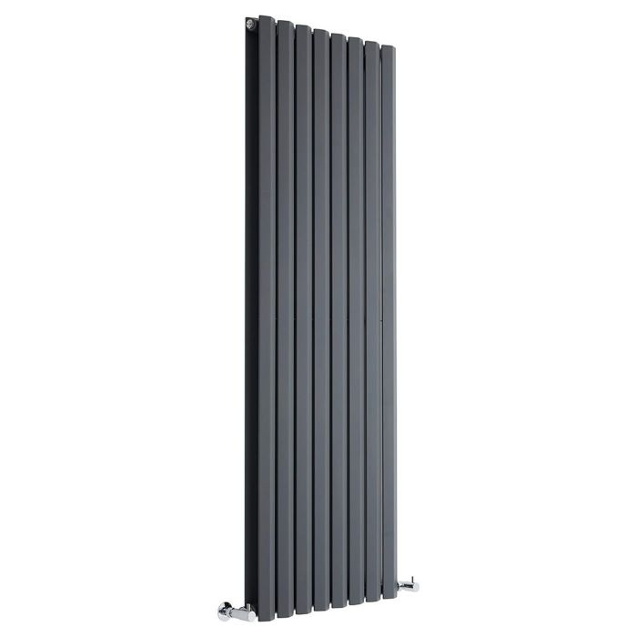 "Edifice - Anthracite Vertical Double-Panel Designer Radiator - 63"" x 22"""