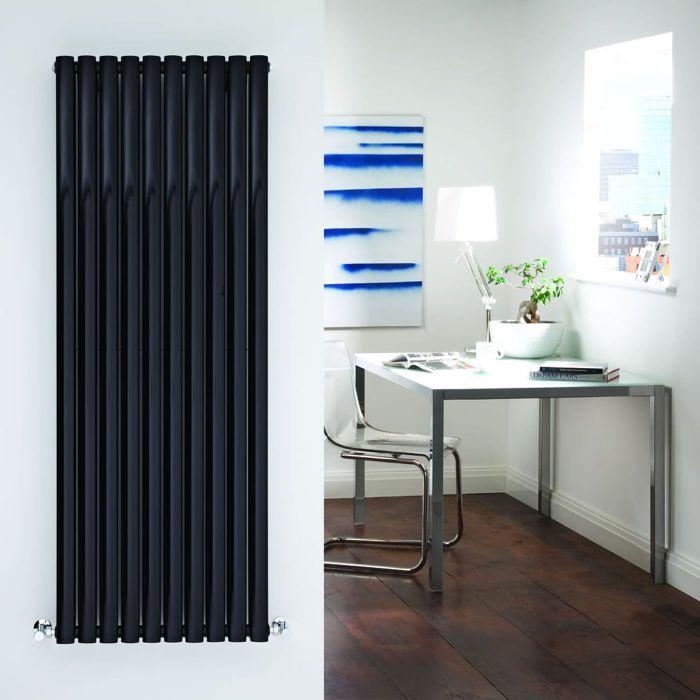"Revive - Black Vertical Double-Panel Designer Radiator - 63"" x 23.25"""