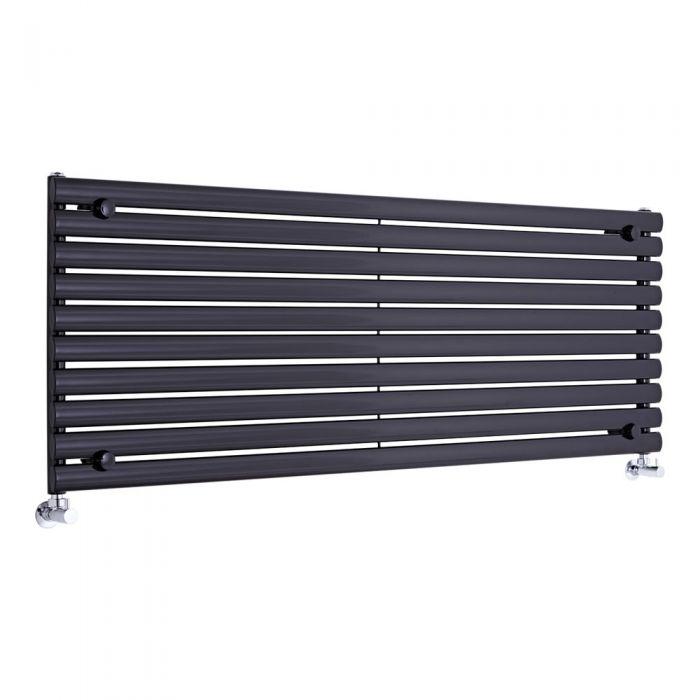"Revive - Black Horizontal Single-Panel Designer Radiator - 23.25"" x 63"""
