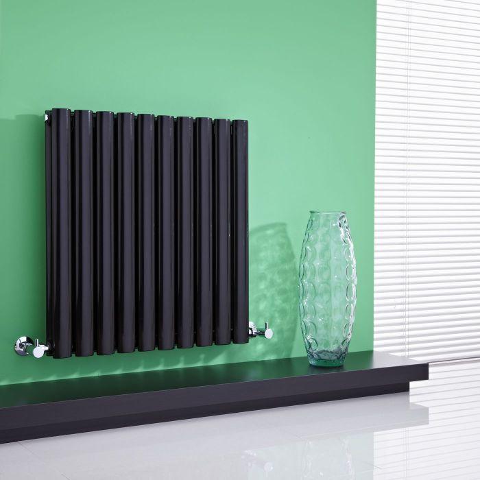 "Revive - Black Horizontal Double-Panel Designer Radiator - 25"" x 23.5"""