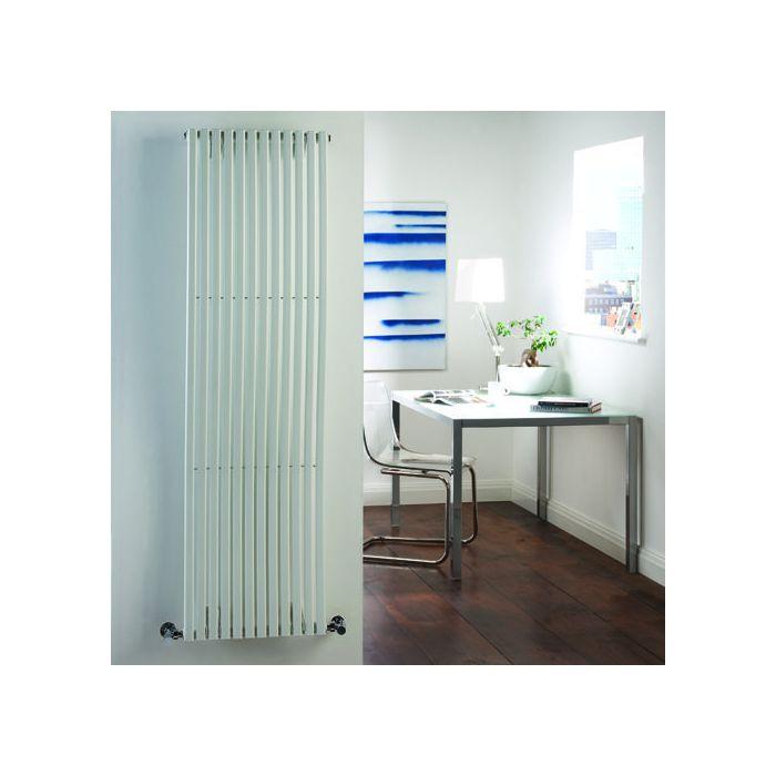 "Palero - White Vertical Single-Panel Designer Radiator - 63"" x 18"""