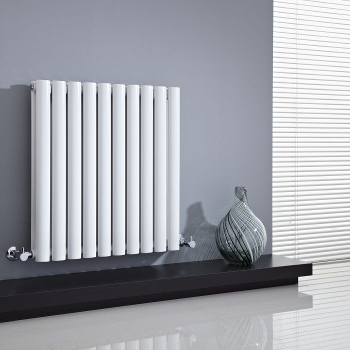 "Revive - White Horizontal Double-Panel Designer Radiator - 25"" x 23.5"""