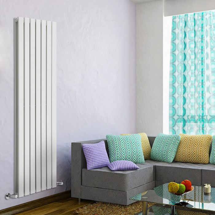 "Delta - White Vertical Double Slim-Panel Designer Radiator - 63"" x 19.25"""