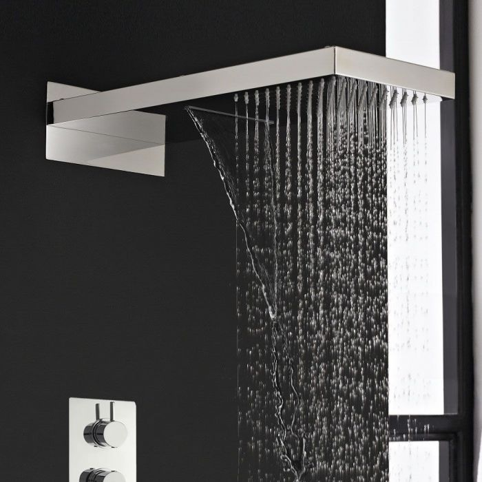 Rainshower and Waterfall Shower System with Thermostatic Rough in Valve