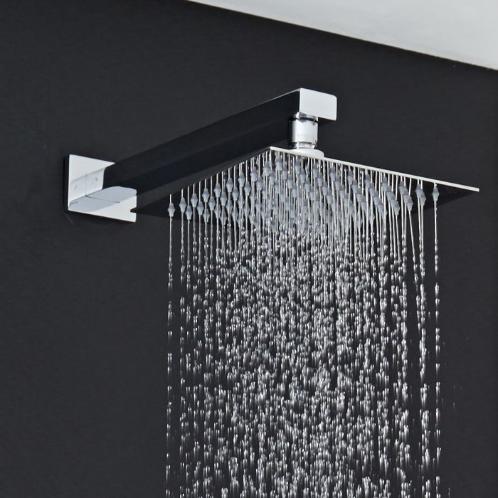 """8"""" Square Shower Head with Rectangular Wall Arm"""