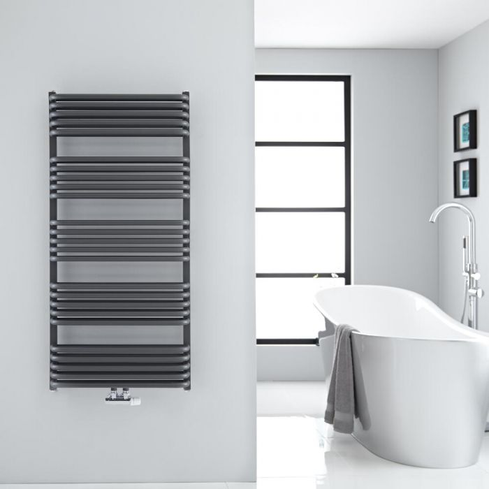 """Arch - Anthracite Hydronic Heated Towel Warmer - 50"""" x 23.5"""""""