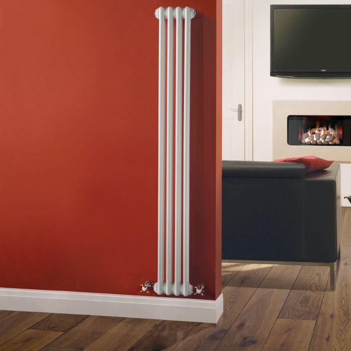 "Regent - White Vertical 2-Column Traditional Cast-Iron Style Radiator - 59"" x 8"""