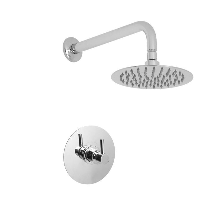 """Valquest 3/4"""" Sequential Valve with 8"""" Round Thin Shower Head & Wall Arm"""