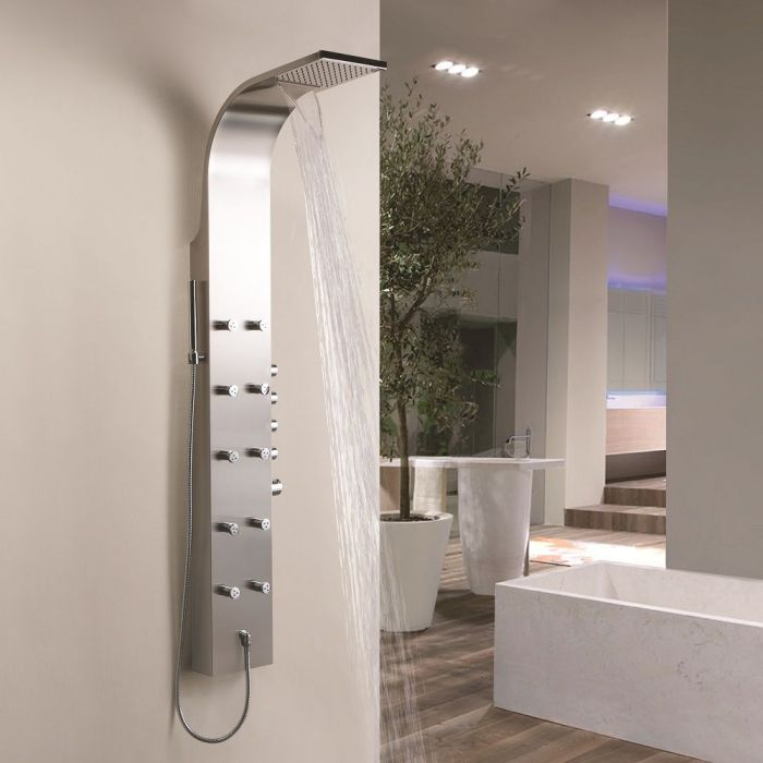 Thermostatic Shower Panel with 10 Mini Body Jets and Waterfall Head ...