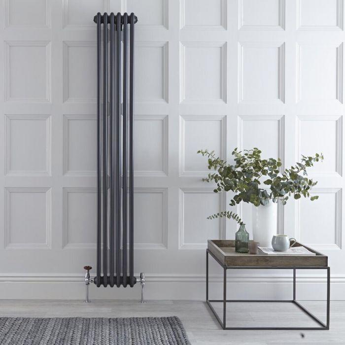 "Regent - Anthracite Vertical 3-Column Traditional Cast-Iron Style Radiator - 70.75"" x 11.5"""