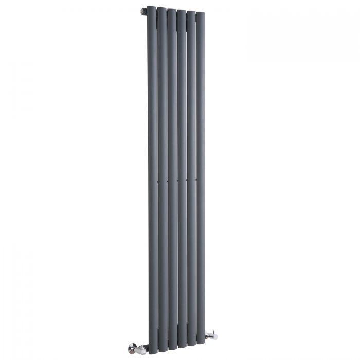 "Revive - Anthracite Vertical Single-Panel Designer Radiator - 63"" x 14"""