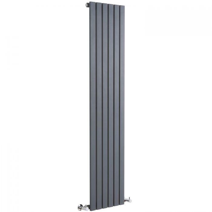 "Sloane - Anthracite Vertical Single Flat-Panel Designer Radiator - 63"" x 14"""