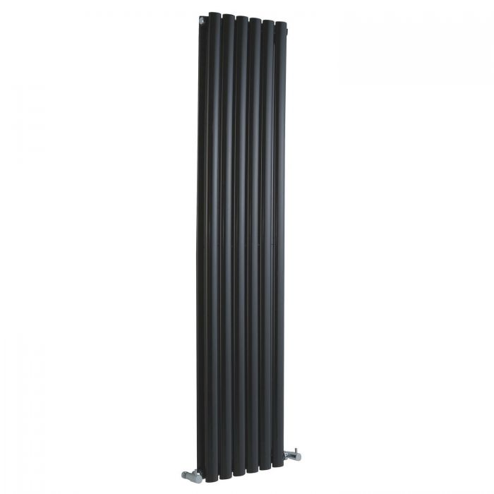 "Revive - Black Vertical Double-Panel Designer Radiator - 63"" x 14"""