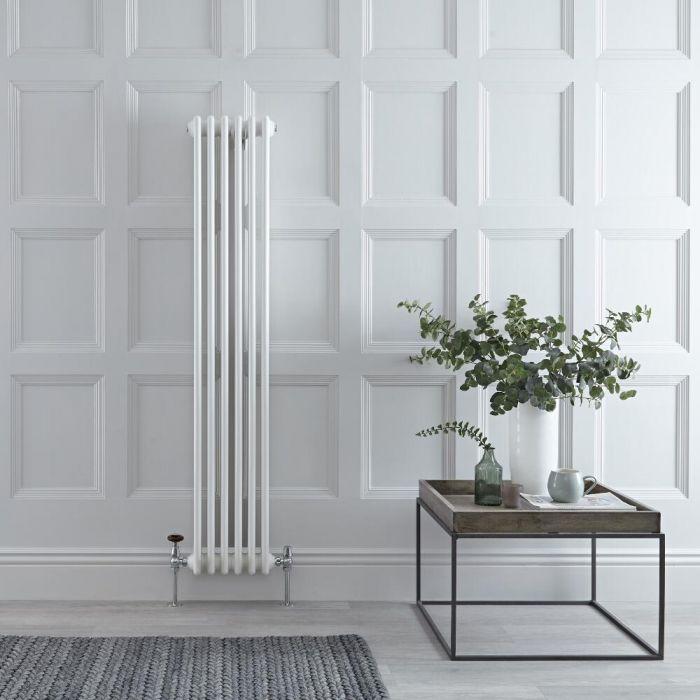 "Regent - White Vertical 3-Column Traditional Cast-Iron Style Radiator - 59"" x 11.5"""