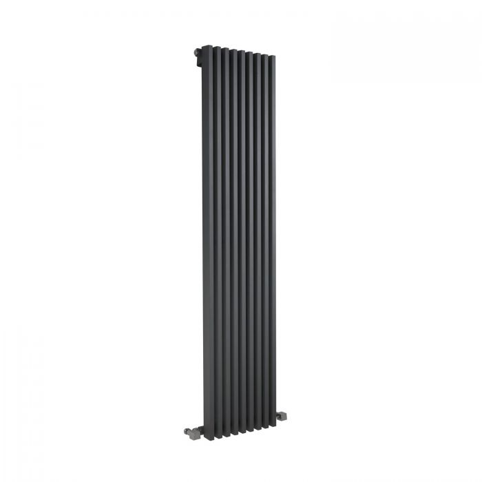 "Fin - Anthracite Vertical Single-Panel Designer Radiator - 63"" x 13.5"""