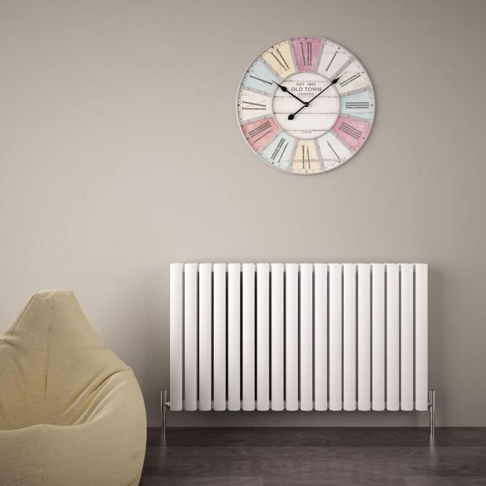 "Revive Air - White Aluminum Horizontal Double-Panel Designer Radiator - 23.5"" x 42.25"""