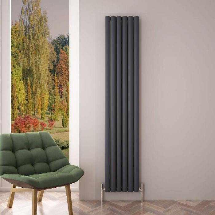"""Revive Air - Anthracite Aluminum Vertical Double-Panel Designer Radiator - 70.75"""" x 13.75"""""""