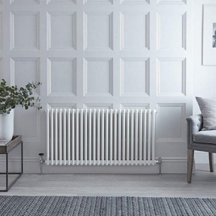 "Regent - White Horizontal 2-Column Traditional Cast-Iron Style Radiator - 23.5"" x 47"""