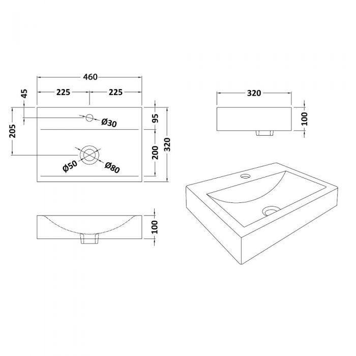 """Modern Rectangular Porcelain Vessel Sink 18"""""""