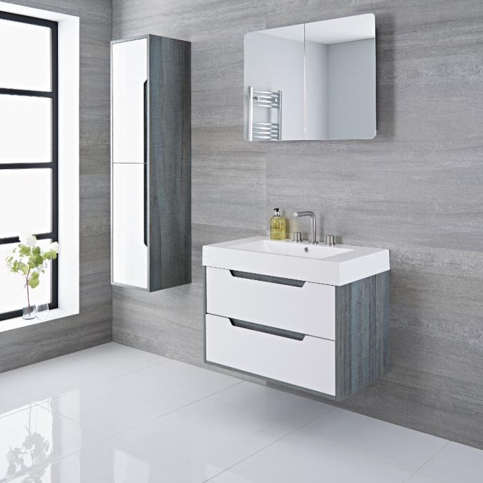 Newport - 30'' White & Gray Wall-Mount Bathroom Vanity