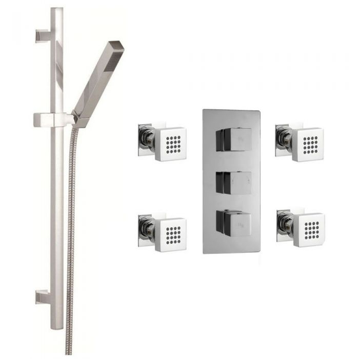 Astbury triple concealed thermostatic shower valve and 4 Square Body Jets, Kubix Slide Rail Kit - Chrome Finish