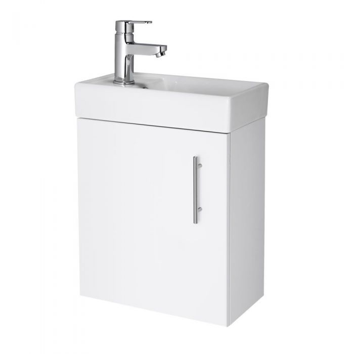 White Small Wall Mount Vanity Vessel Sink 16""