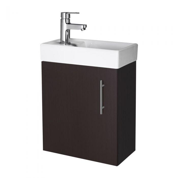 "Ebony Brown Small Wall Mount Vanity Vessel Sink 16"""