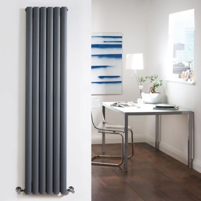 "Revive - Anthracite Vertical Double-Panel Designer Radiator - 70"" x 14"""