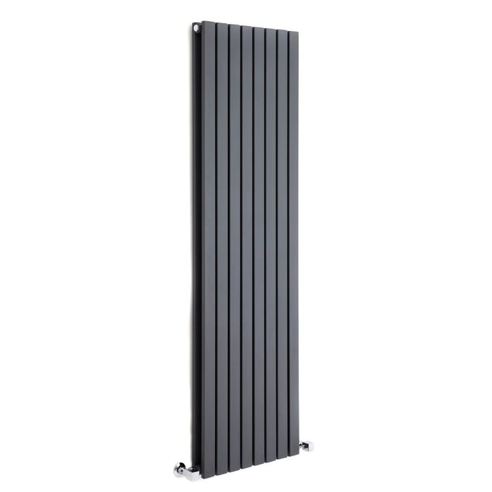 "Sloane - Anthracite Vertical Double Flat-Panel Designer Radiator - 70"" x 18.5"""