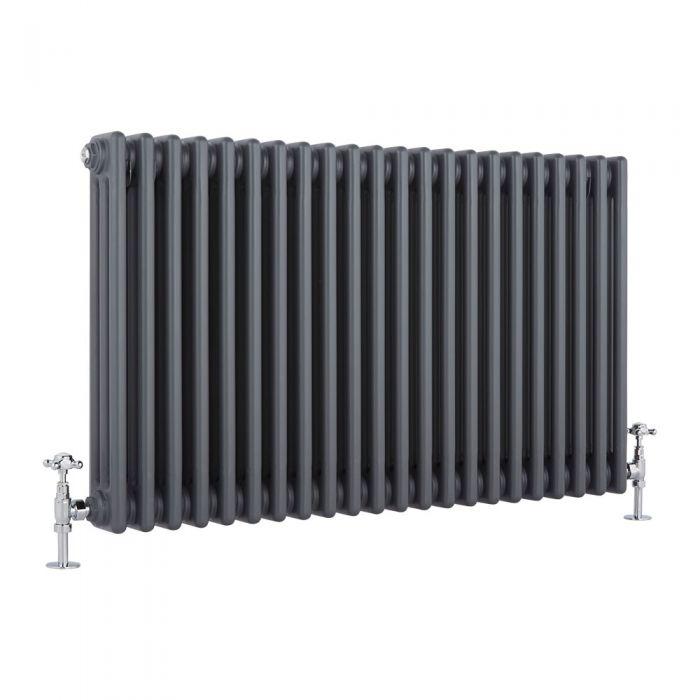 "Regent - Anthracite Horizontal 3-Column Traditional Cast-Iron Style Radiator - 23.5"" x 39"""