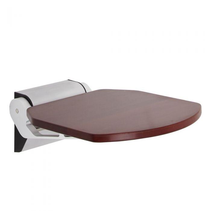 Modern Sapele Wood Folding Shower Seat with Narrow Bracket