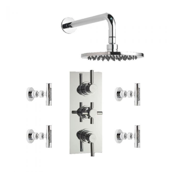 Tec Concealed thermostatic shower valve with Round Shower head and 4 ...