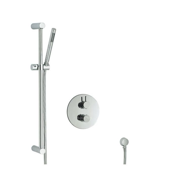 Clio Twin Chrome Concealed Thermostatic Shower Faucet Valve with Tec Slider Rail Kit
