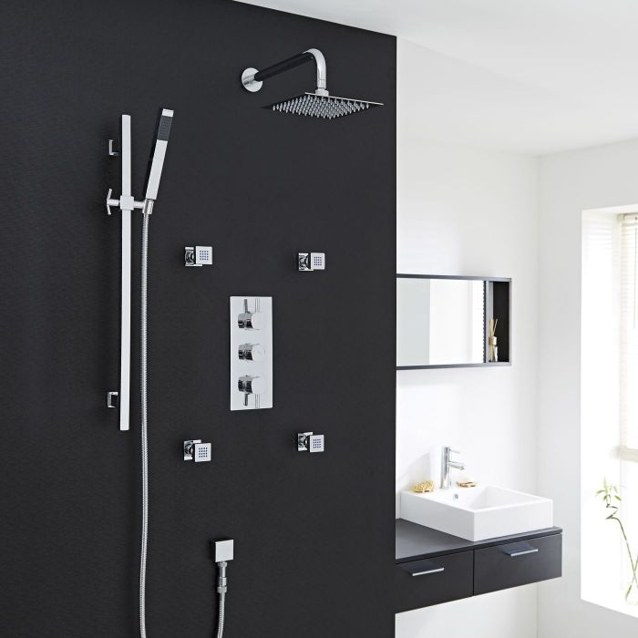 Thermostatic Shower System with Hand Sprayer Kit and 4 Body Jet Sprays