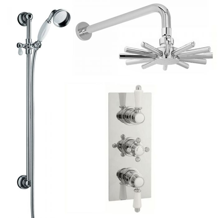 Traditional Thermostatic Shower Valve with Cloudburst Fixed Head and Slide Rail Kit - Chrome Finish