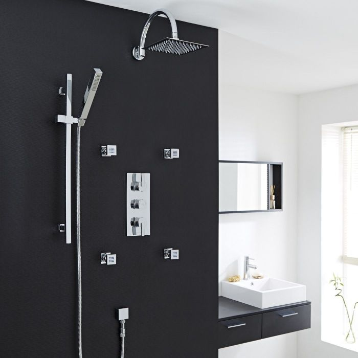 "Valquest Thermostatic Shower System with 8"" Head, Handshower & 4 Square Jet Sprays"