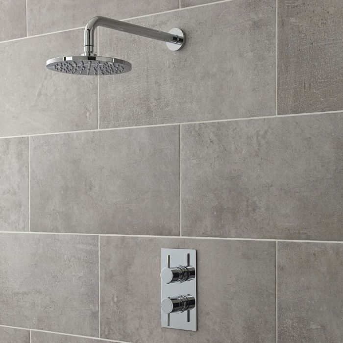 """Quest Thermostatic 1 Outlet Shower Valve with 8"""" Round Head & Arm"""