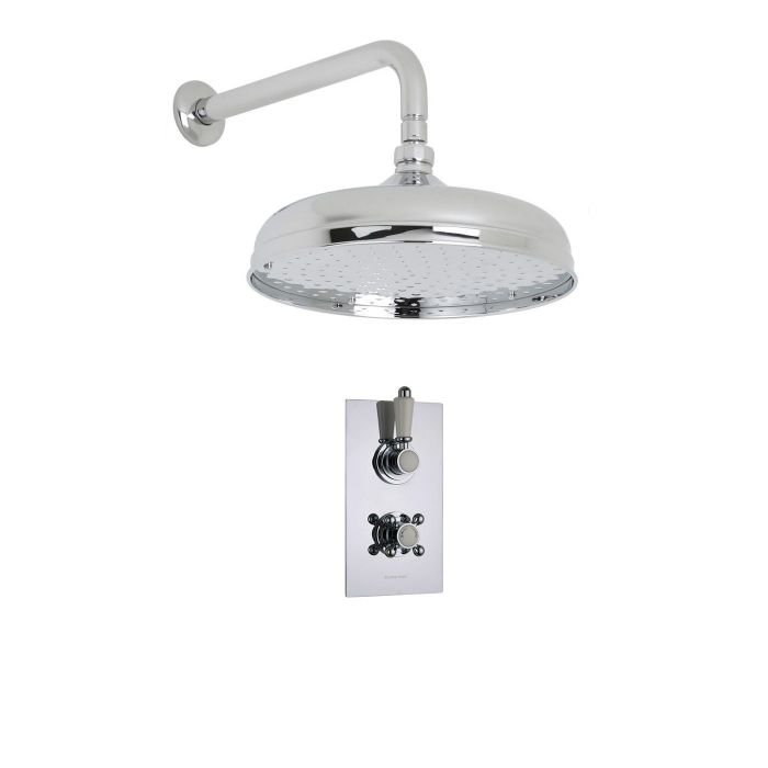 """Traditional Thermostatic 1 Outlet Shower System with 12"""" Apron Head & Arm"""