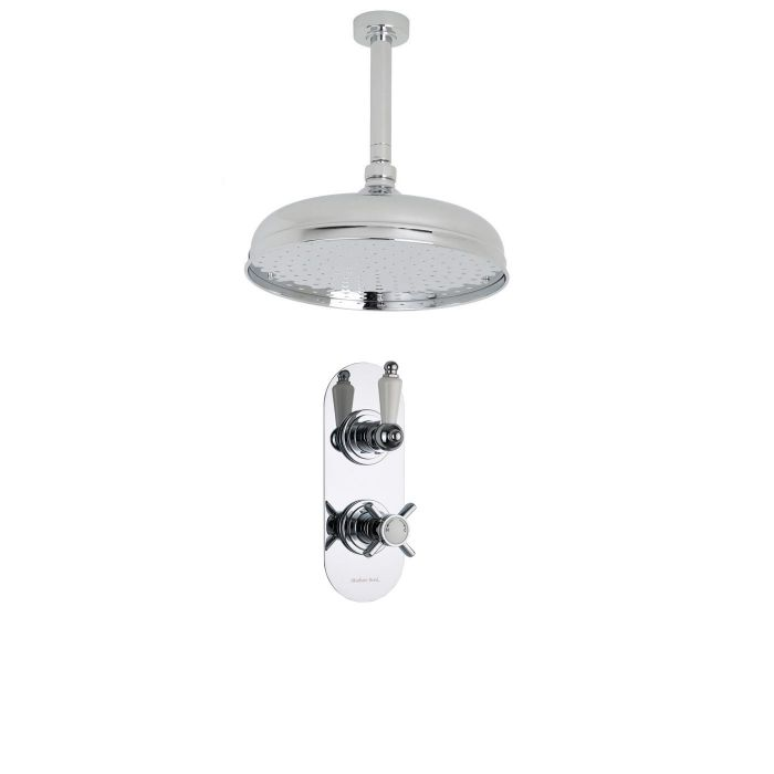 """Beaumont Thermostatic 1 Outlet Shower System with 12"""" Apron Head & Ceiling Arm"""